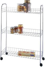 Raft de bucătărie pe roți - raft de baie îngust, 3 nivele, WENKO