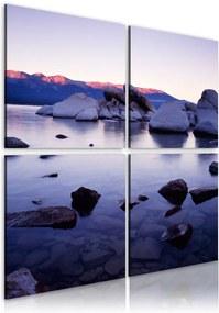 Tablou - Rocky shore of alpine lake 40x40 cm