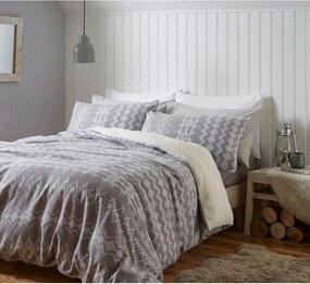 Lenjerie de pat din fleece Catherine Lansfield Alpine, 200 x 200 cm, gri