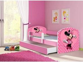 Pat copii cu sertar si saltea Minnie Mouse si protectie anticadere