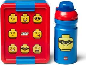 Set caserolă pentru gustări și sticlă LEGO® Iconic, roșu-albastru