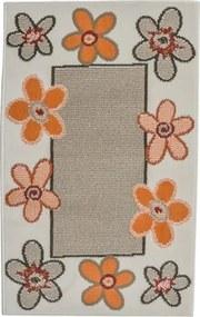 Covor Flowers model floral bej-portocaliu 60x110 cm
