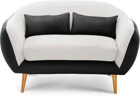 Canapea cu 2 locuri Meteore, alb - negru