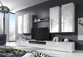Expedo Mobilă sufragerie LOBO, dulapurile superioare: albe, dulapurile inferioare: albe