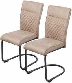 Set de 2 scaune Tendu microfibra/metal, bej, 44 x 96 x 57 cm