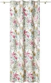 Draperie cu inele Reina, imprimeu floral, verde/roz 140x245 cm
