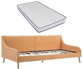 279150 vidaXL Cadru pat de zi cu saltea spumă cu memorie, portocaliu, textil