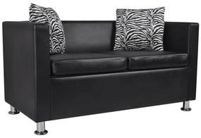 242209 vidaXL Canapea cu 2 locuri, negru, piele artificială