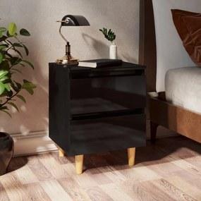 805865 vidaXL Noptieră & picioare lemn masiv pin negru extralucios 40x35x50cm