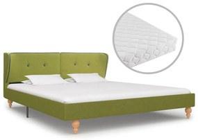 277592 vidaXL Pat cu saltea, verde, 180 x 200 cm, material textil