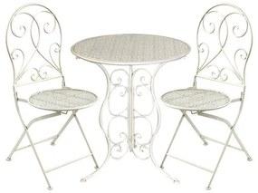 Set masa cu 2 scaune Vintage din fier Ivory 60x70cm
