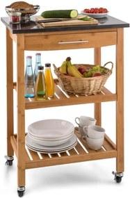Klarstein Tennessee bucătărie cărucior Trolley 3 etaje granit bambus