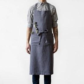 Șorț din in Linen Tales Chef, lungime 100 cm, gri închis