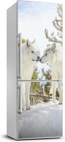 Autocolant pe frigider Doi lupi albi