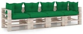 3066136 vidaXL Canapea de grădină din paleți, 4 locuri, cu perne, lemn de pin