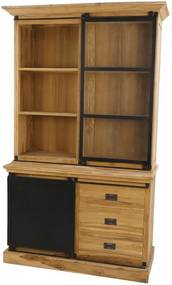 Bufet maro/neagru din lemn de tec si fier 215 cm Darwin HSM Collection