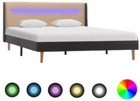 286700 vidaXL Cadru de pat cu LED, crem, 140 x 200 cm, material textil