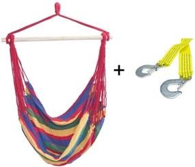 Set Hamac Brazilian tip Scaun, Capacitate 120kg, Multicolor + Franghie suspendare hamac, lungime 1m, carlige prindere metal