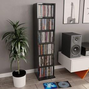800359 vidaXL Dulap CD-uri, gri extralucios, 21 x 20 x 88 cm, PAL