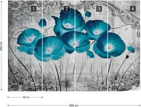 Fototapet GLIX - Vintage Flowers Blue Grey  + adeziv GRATUIT Papírová tapeta  - 368x254 cm