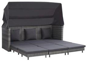46077 vidaXL Canapea extensibilă cu 3 locuri cu acoperiș, gri, poliratan