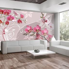 Fototapet Bimago - Flight of pink orchids + Adeziv gratuit 250x175 cm