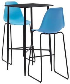 279927 vidaXL Set mobilier de bar, 3 piese, albastru, plastic