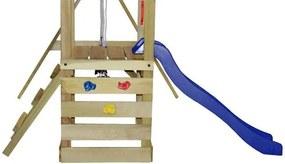 Set de joacă din lemn, scară, tobogan și leagăne 290x260x245 cm