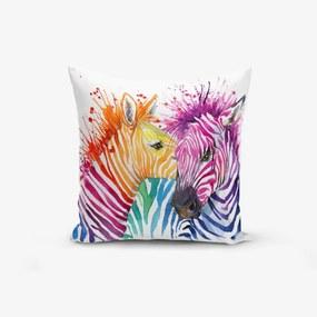 Față de pernă din amestec de bumbac Minimalist Cushion Covers Colorful Zebras Oleas, 45 x 45 cm