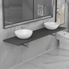 279391 vidaXL Set mobilier de baie din trei piese, gri, ceramică