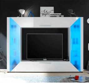 TV media perete, pal melaminat, MDF cu extra strălucire, albă, ADGE