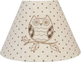 Abajur veioza textil bej Owl Ø 25x17 cm E27