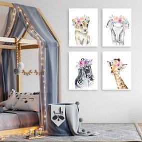Set de tablouri pentru copii - Animale cu flori