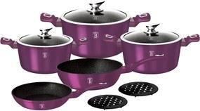 Set oale marmorate 10 piese Purple Royal Metalic Line Berlinger Haus BH 1661N