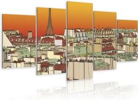 Tablou - Parisian sky in orange colour 100x50 cm