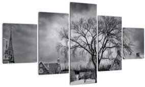 Tablou cu sat alb negru (125x70 cm), în 40 de alte dimensiuni noi