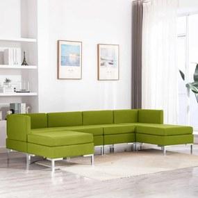 3052824 vidaXL Set de canapele, 6 piese, verde, material textil