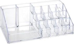 Organizator pentru cosmetice Eleganza, 16 compartimente, 22 x 13 x 8 cm, Transparent