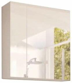 Dulap cu oglinda alb/alb cu luciu extra ridicat HG MASON WH14