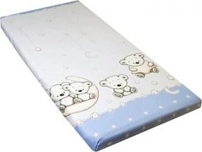 Cearceaf din bumbac cu elastic 120x60 cm Teddy on the Moon Blue