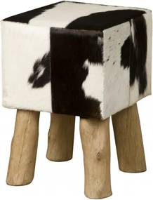 Taburet cubic din piele de vaca Cowhide alb/negru