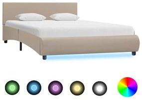 285501 vidaXL Cadru de pat cu LED, cappuccino, 140 x 200 cm, piele ecologică