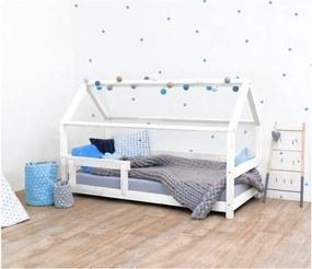 Pat pentru copii, din lemn de molid cu bariere de protecție laterale Benlemi Tery, 80 x 160 cm, alb