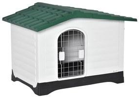 PawHut Casuta pentru caini in Plastic cu Usa si Fereastra 91x69x66cm Verde/Negru/Alb