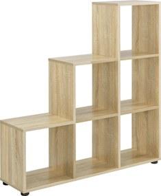[en.casa]® Raft in trepte, cu 6 compartimente,104 x 107 x 29 cm, MDF,melamina, efect lemn