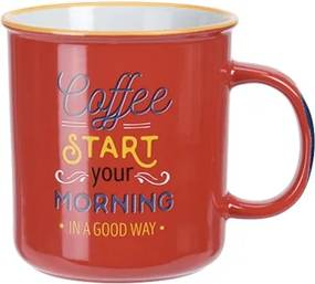 Cana Coffee din ceramica rosie 12 cm