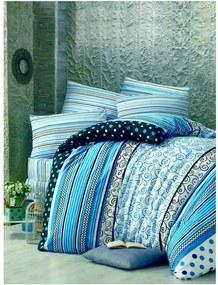 Lenjerie de pat din bumbac cu cearșaf și fețe de pernă Poly, 200 x 220 cm