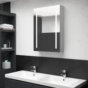 326495 vidaXL Dulap de baie cu oglindă și LED, gri beton, 50x13x70 cm
