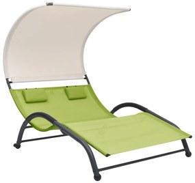 310546 vidaXL Șezlong de plajă dublu cu baldachin, verde, textilenă