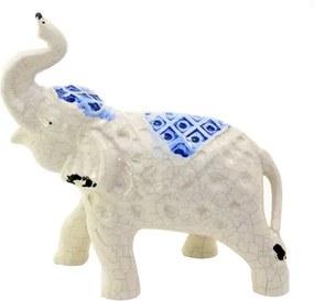 Statueta elefant din ceramica alba 22x9x19 cm